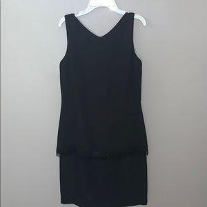 Liz Claiborne sleeveless black dress with fringe